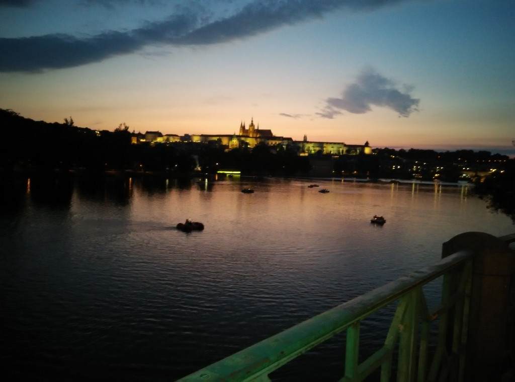 Prague Castle & Vltava river in the evening